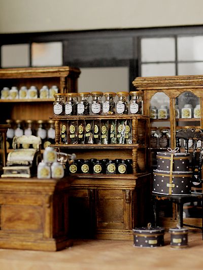 love this miniature Tea Shop from Petipetit furniture ~ handmade natural color of life