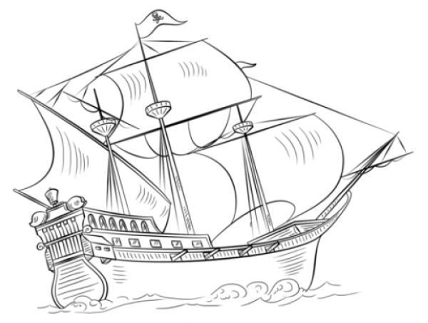 The Mayflower Ship Coloring Page Thanksgiving Coloring Page Boat
