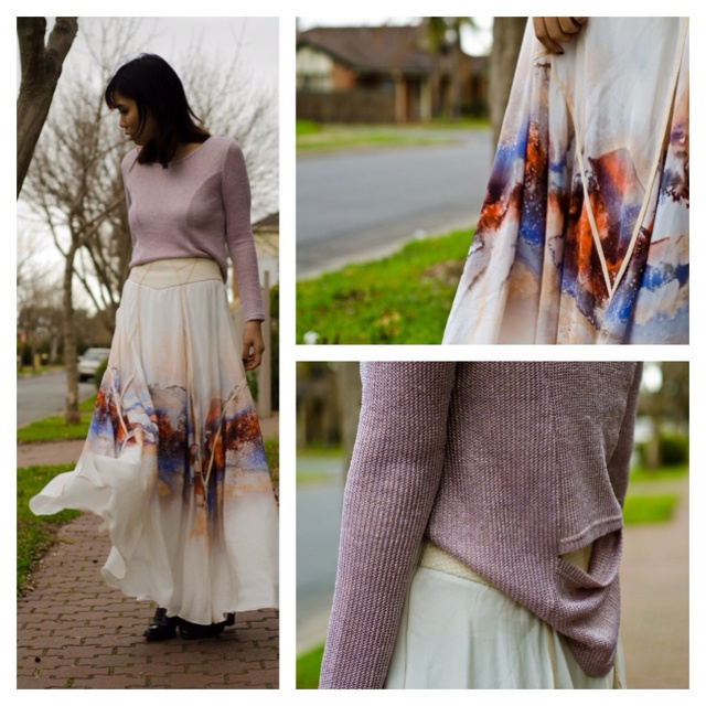 IXIAH worn by blogger Anne from Froth & Cloth.  #ixiah #afterlife metallic long sleeve #hidden flames skirt