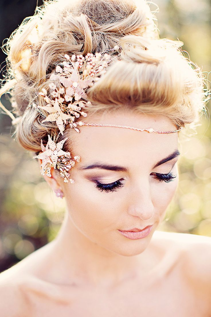 Gorgeous headpiece, shoulder jewelry, hair and makeup for A Midsummer's Night Dream styled shoot from our UK Luxe List partners | Spring 2016 wedding inspiration | Strictly Weddings | Dress @KnutsfordWG | Photography @teresaadele | Jewelry @mothership7 | Hair/makeup @flossyandleigh