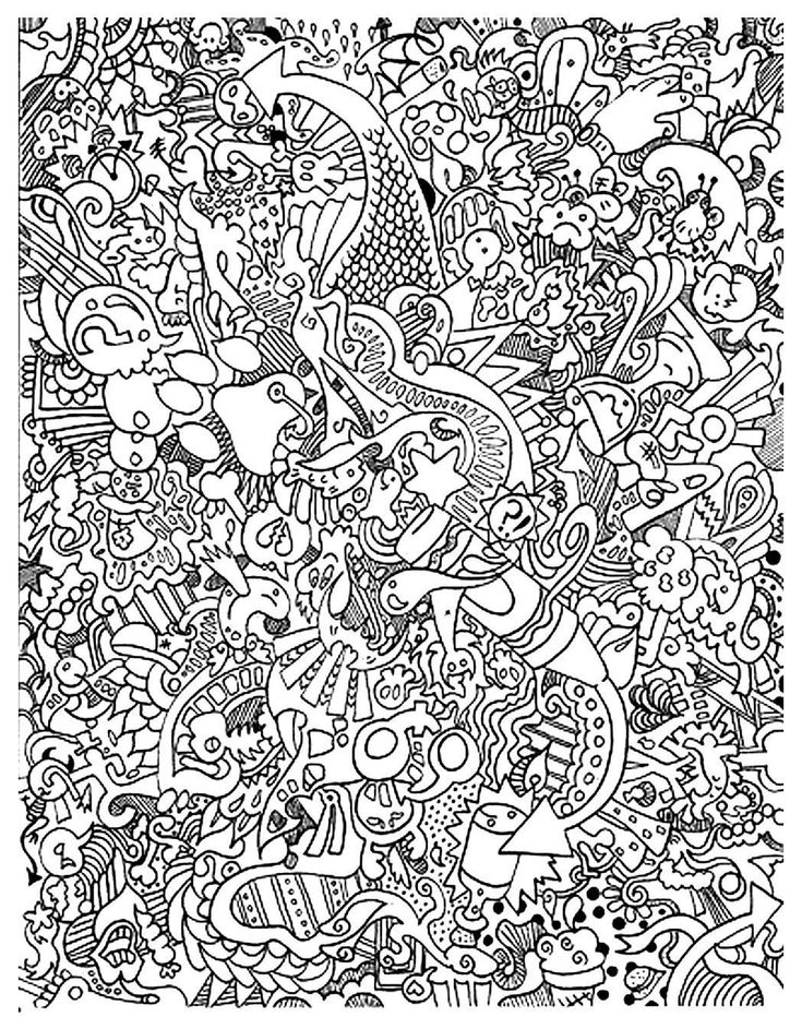 Free Doodle Coloring Page Adult Difficult Doodling Art
