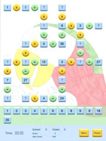 APP KRUISTAFELS: App waarbij kinderen vermenigvuldigingen moeten aanvullen. Ik zou de kinderen eerst andere tafelspelletjes laten spelen, omdat het aanvullen hier niet zo makkelijk is.
