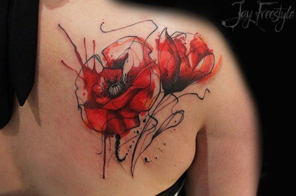 Poppies tattoo - 60 Beautiful Poppy Tattoos   Art and Design