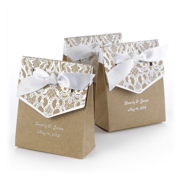 Add a bit of classic style and flair to your wedding or party venue with this kraft, tent-styled party favor box with a lovely silver foil lace print design. Perfect for so many wedding and party themes, with a personal touch. Includes two lines of font 30 characters maximum per line.