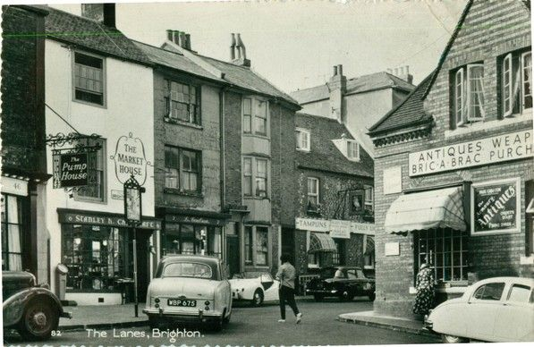 Postcard of Brighton Lanes from the late 1950s/early 1960s. Brighton, UK.