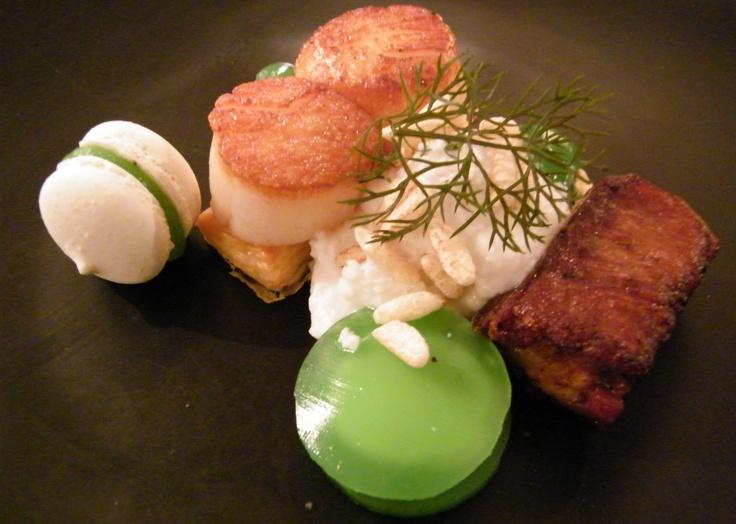 Seared sea scallops w prosciutto-wrapped pork cheek, fetta, Granny Smith apple & flavours of coconut