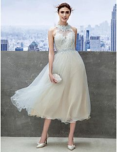 TS+Couture+Cocktail+Party+Prom+Company+Party+Dress+-+Open+Back+A-line+High+Neck+Tea-length+Tulle+with+Appliques+–+USD+$+425.00