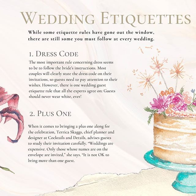 Wedding Etiquette Is Tricky Stuff So We Ve Rounded Common Wedding Etiquette For You To Follow Check It Out And Save This P In 2020 Wedding Etiquette Etiquette Wedding