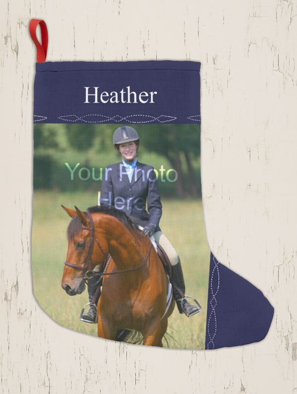 Horse Lover Holiday Stocking - Personalized Photo Equestrian Christmas Stocking - The Painting Pony