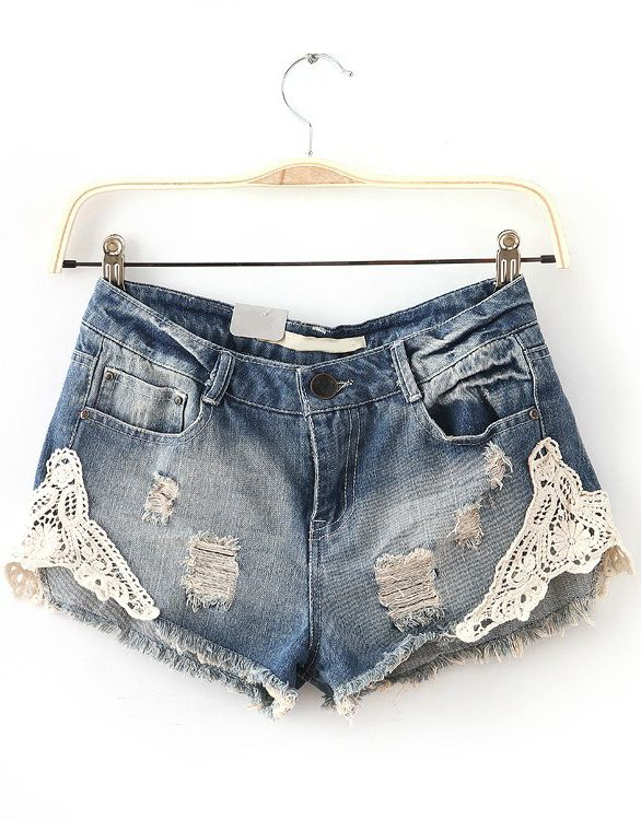 Bleached Ripped Lace Denim Shorts $23