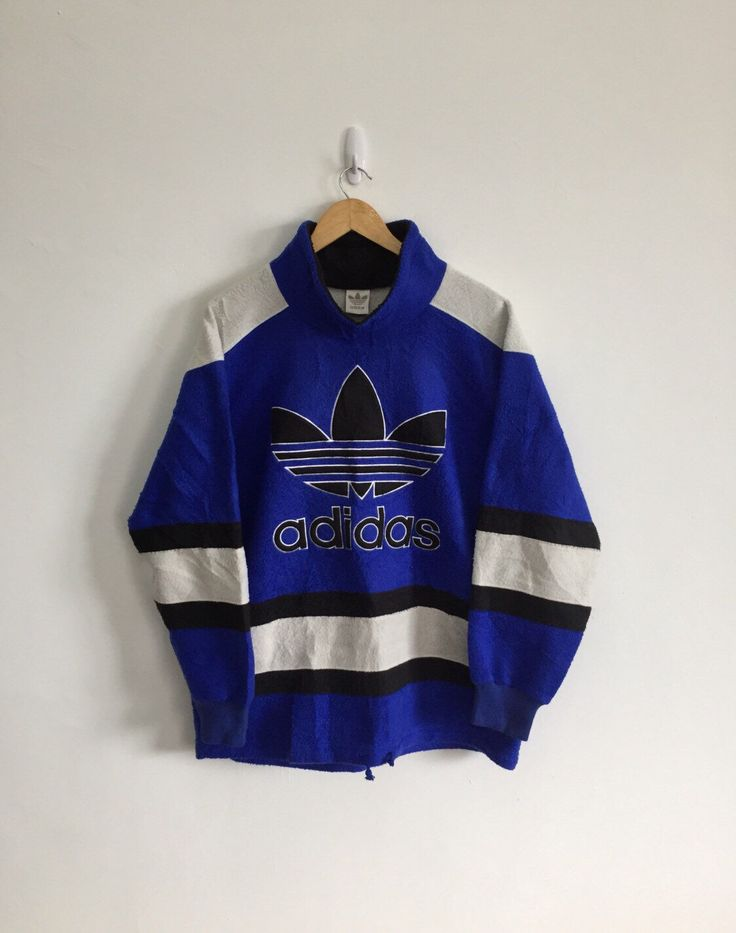"""Vintage ADIDAS Front Big Logo 1980s Fleece Pullover Hoodie Sweater Warm Up Winter Jacket armpit24""""x32""""Rare Ellesse Puma Nike Sergio Tacchini by FOREVERANARCHY on Etsy https://www.etsy.com/listing/477113698/vintage-adidas-front-big-logo-1980s"""