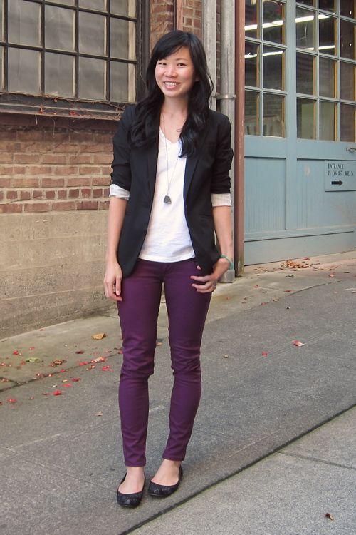 purple skinny jeans, black flats, black blazer, white t-shirt / cami