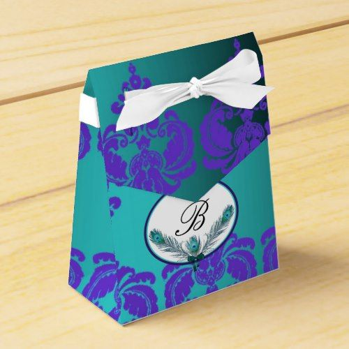 Monogram Peacock Damask Party Favor Box