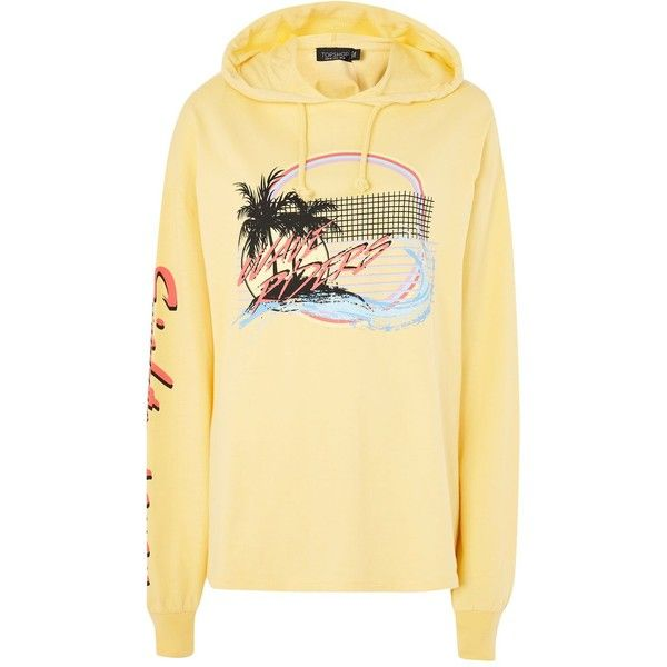 Topshop Palm Tree Hoodie ($34) ❤ liked on Polyvore featuring tops, hoodies, yellow, sweatshirt hoodies, special occasion tops, beige top, evening tops and topshop tops