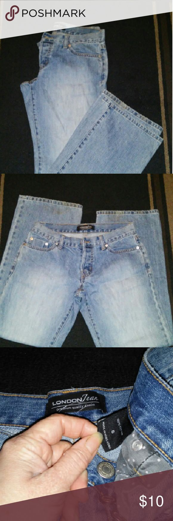 Victoria Secrets London Jean boot cut (p#9) I got these on eBay used and they don't fit me right so I've never worn them. They are light rinse button fly. They have a light strain on the knee that looks like it will come out the flash makes it look worse then it is. There is some pant bottom wear. Victoria's Secret Jeans Boot Cut