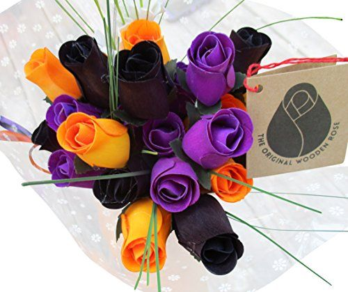 The Original Wooden Rose Black Orange and Purple Halloween Bouquets 2 Dozen  * Find out more about the great product at the image link.