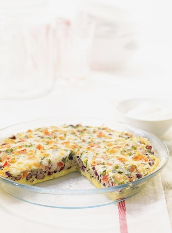 Recette de Ricardo: Frittata mexicaine aux haricots noirs. Ingrédients: oeufs, piment jalapeno, haricots noirs, bouillon de poulet...