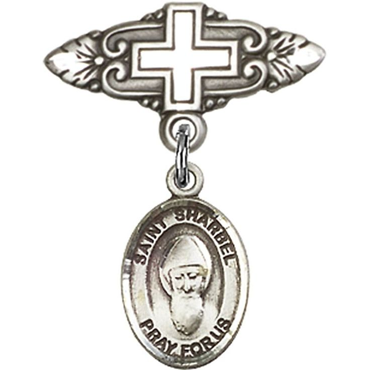 Sterling Silver Baby Badge with St. Sharbel Charm and Badge Pin with Cross 1 X 3/4 inches ** Click image to review more details. (This is an Amazon Affiliate link and I receive a commission for the sales)