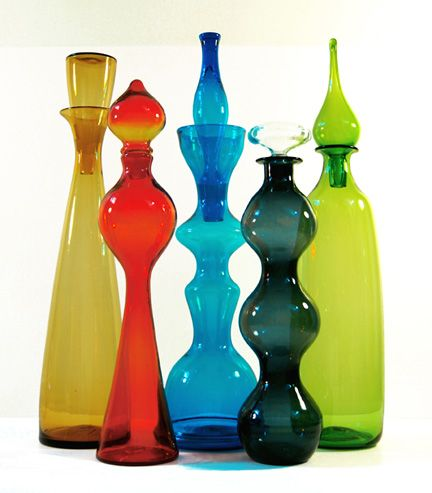 Free Blown Floor Decanters(28″ to 37″ tall) from 1958-74, made by Blenko Glass Company and designed by Wayne Husted and John Nickerson. Blue Dream, Guido F. Castellanos, Abstract digit…