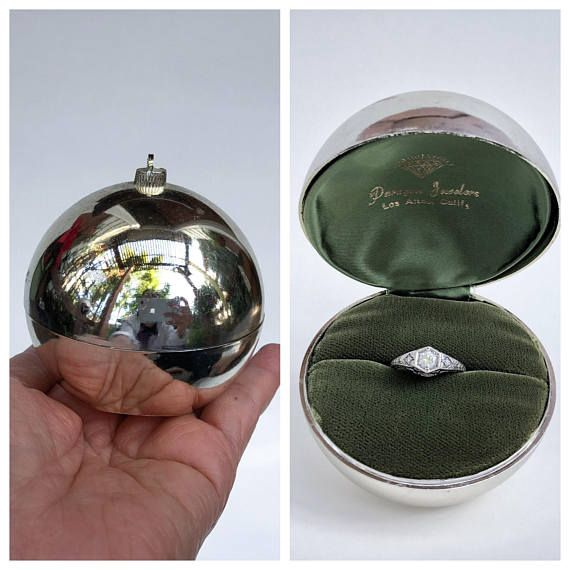 Surprise Proposal Ring Box Silver Plastic Ornament Xmas Tree Velvet Jewelry Display Vintage California O Proposal Ring Box Christmas Proposal Jewellery Display