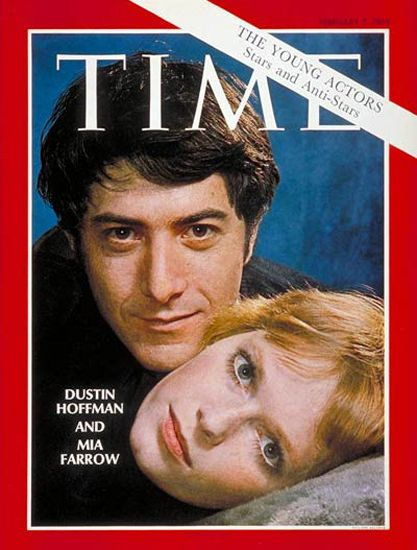 """1969-02 Dustin Hoffman Mia Farrow Copyright Time Magazine - www.MadMenArt.com   Time Magazine Covers feature a chronological timeline of cover personalities and celebs – a unique kind of """"Who's Who."""" #TimeMagazine #Vintage #Time #Magazines #Covers #MagazineCovers# #Covers #Celebs #Celebrities #History"""