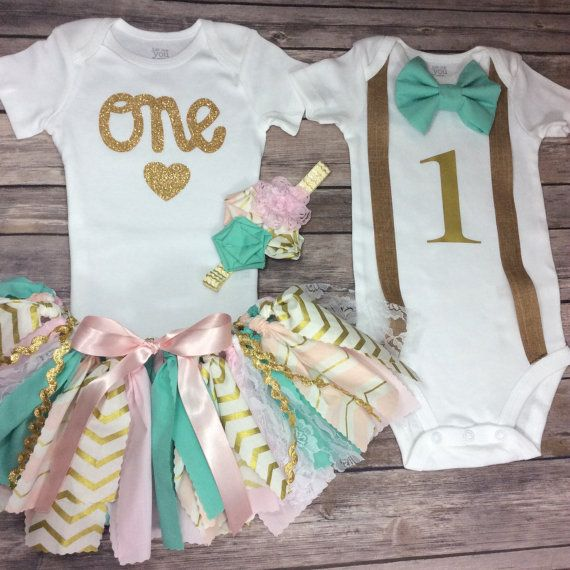 Birthday Twin Outfits for Boy and Girl Twins Pink, Mint, and Gold, Fabric Tutu Birthday Girl Outfit & Bow Tie Suspenders Birthday Boy Outfit
