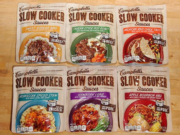 Serious Eats: The appeal of a slow cooker is obvious: throw some things into the pot at the beginning of the day, go to work, and come home with a hot meal waiting for you that tastes as if it's been slaved over all day. The new line of Campbell's Slow Cooker Sauces promise to deliver great flavor with pretty much zero effort. Sounds too good to be true. This we had to taste for ourselves.