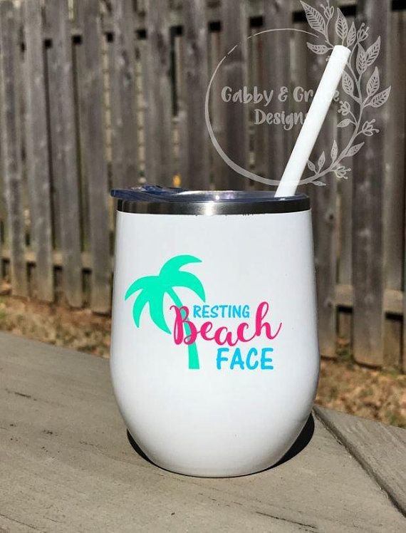 Resting Beach Face Stainless Steel Wine Tumbler With Palm Tree