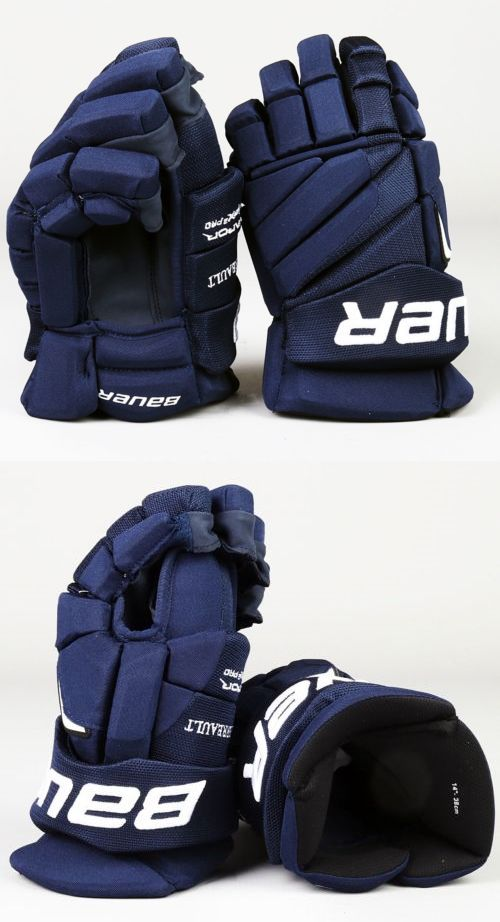 "5155268565b Gloves 20853  Pro Stock Bauer Apx2 Hockey Gloves Winnipeg Jets Perrault 14"" Blue  Palms"