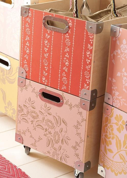 stenciled IKEA boxes: Ikea Boxes, Storage Solutions, Storage Boxes, Crafts Rooms, Country Home, Scrapbook Paper, Wood Boxes, Storage Bins, Storage Ideas