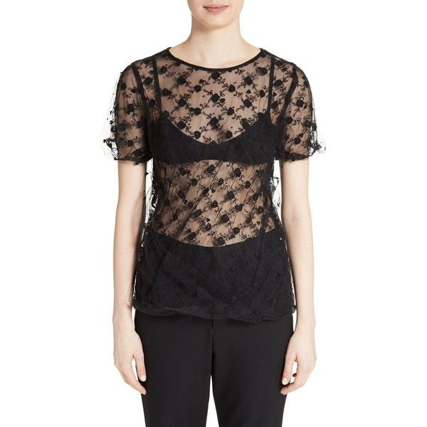 Women's Tricot Comme Des Garcons Embroidered Tulle Top ($655) ❤ liked on Polyvore featuring tops, black, embroidered top, sheer top, transparent top, see through tops and tulle top