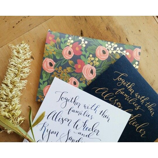 Testing - navy ink on white card or gold ink on navy card... with a dash of Rifle Paper Co. for extra prettiness ♡
