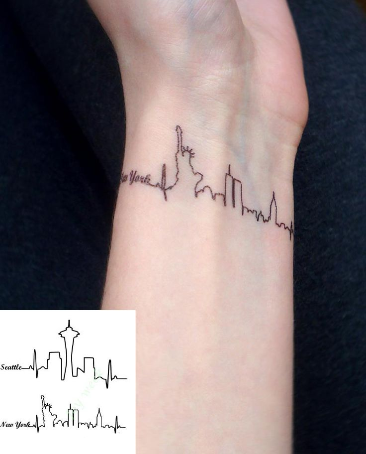 Waterproof Temporary Tattoo Sticker Seattle and New york Statue Of Liberty city skyline letters Water Transfer Flash fake tattoo