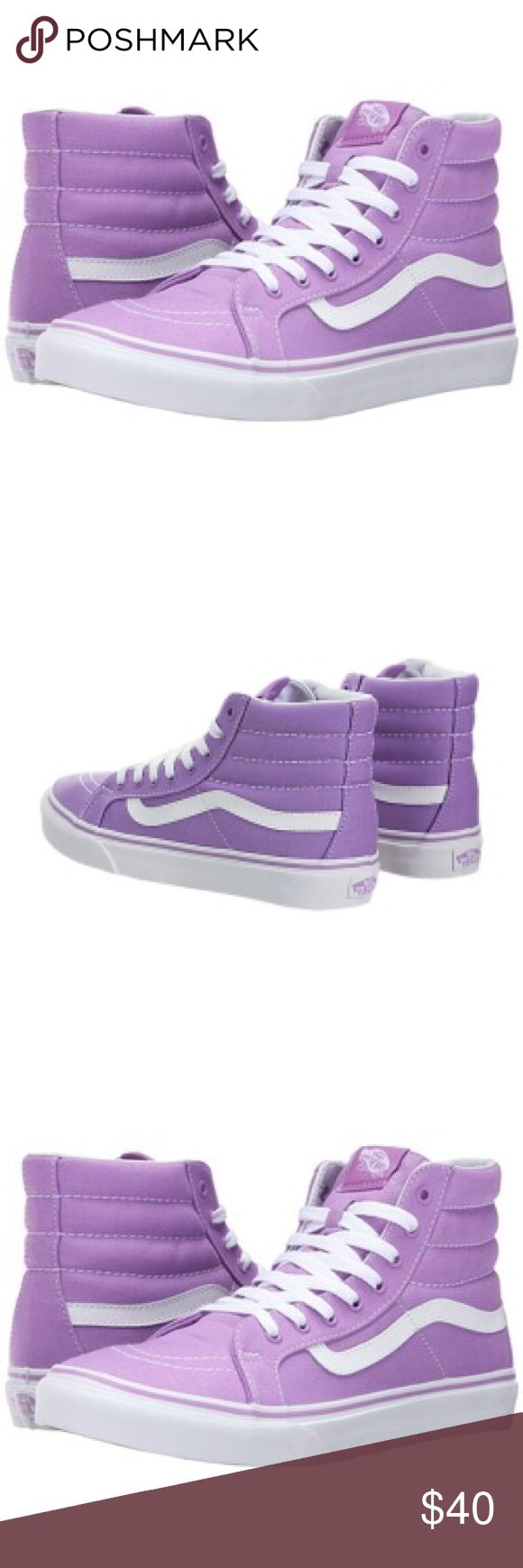 Vans SK8-Hi Slim Classic Africa's The Sk8-Hi Slim, a slimmed down version of the legendary Vans lace-up high top, features sturdy canvas uppers, padded collars for support and flexibility, and signature rubber waffle outsoles. These are such a beautiful color way of African Violet  and True White. Pictured here is the exact pair for sale. Vans Shoes Sneakers