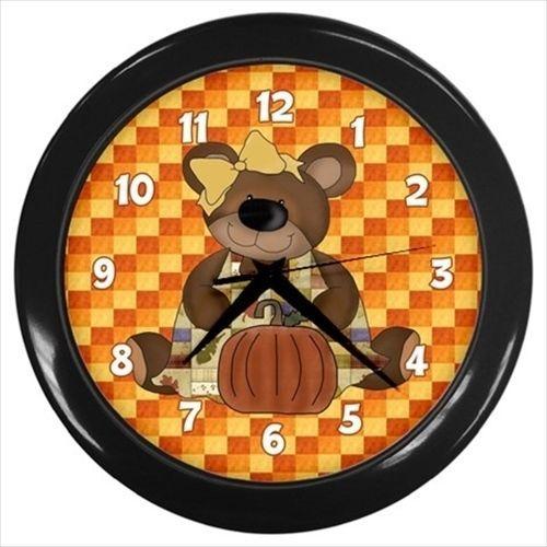 Bear with a pumpkin Autumn/Fall wall clock
