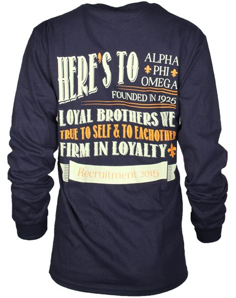 Alpha Phi Omega Loyalty Long Sleeve by Adam Block Design | Custom Greek Apparel & Sorority Clothes | www.adamblockdesign.com