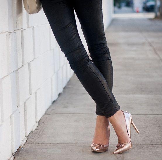 gold heels! nice look