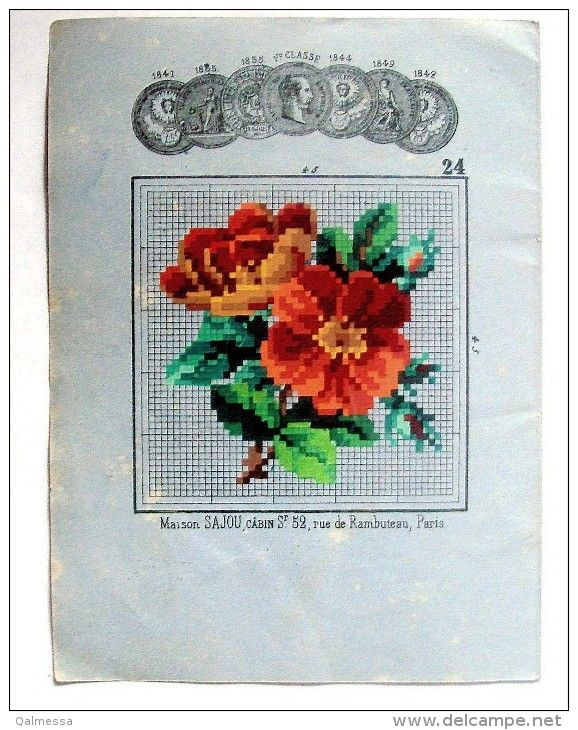 A Lovely Little SAJOU Berlin WoolWork Floral Pattern