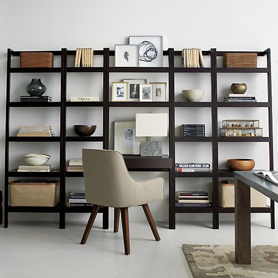 Sawyer Mocha Leaning 25 Bookcase Crate And Barrel