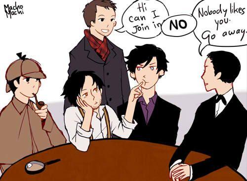 Haha! Sherlocks FTW! i love how Downey Jr.'s Sherlock is poking Benedict's Sherlock in the face. LOL!