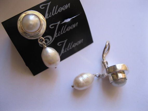 Double Pearl Clip On White Pearl Earring With by JulleenJewels