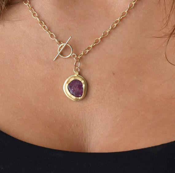 romantische sieraden hanger met steen ketting door AgataLovemade