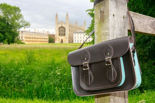 """Our 11"""" Dark Brown and Cambridge Blue satchel"""