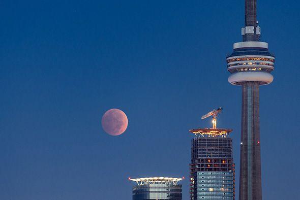 Blood moon over Toronto