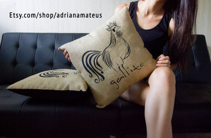 pillow gallito decorative fabric sack black by ADRIANAMATEUS