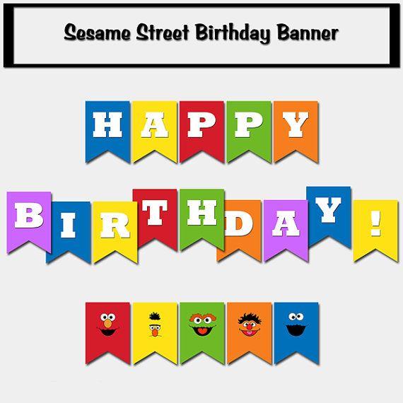 Sesame Street Inspired Happy Birthday Banner - Printable Decoration, DIY Print