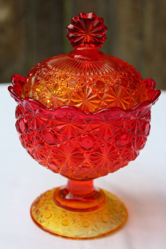 Daisy And Button Amberina Glass Lidded Compote Candy Dish