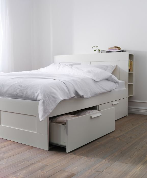 BRIMNES Bed frame with storage, white Ikea beds with storage, Headboards and Storage beds