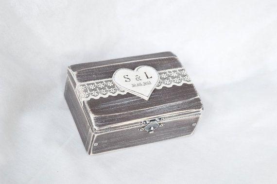 Anello di nozze scatola Rustico portatore dell'anello scatola nozze contenitore di anello Proposta di legno Anello di fidanzamento