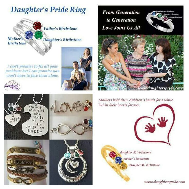 The Perfect Gift for Mom, Daughter or Grandmother this Christmas. A Daughter's Pride Ring is traditionally a gift given to your daughter to signify the pride and love you have for her. It consists of her birthstone set lovingly between mom and dad's birthstones. We love to offer combinations for the modern family as well as traditional at www.daughterspride.com. daughterspride.com